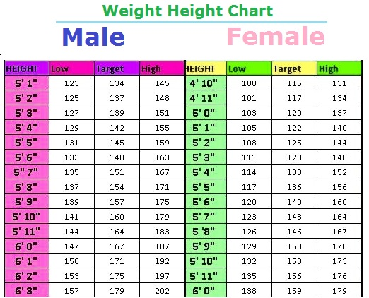 Weight Height Charts Peopledavidjoel